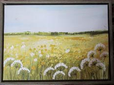 Original oil on canvas of a rural scene by Janet Bell, signed lower right corner 77 cm x 57 cm