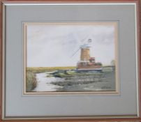 Framed watercolour of a windmill by Norfolk artist Martin Sexton 39.5 x 34.5 cm (size including