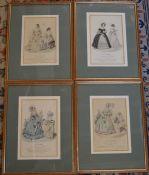 4 French fashion prints framed & glazed