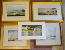 Unframed watercolour of a lake & housing, 2 prints of Tynemouth by I Lindsay & 2 other prints