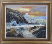 Framed oil on board of a coastal scene by E Whitbread 64 cm x 54 cm (size including frame)