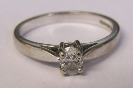 18ct white gold diamond solitaire ring approximately 0.25 ct total weight 3 g size M