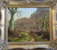 Gilt framed oil on canvas 'The Ride, Rocking Forest' by Tony Malton 38 cm x 33 cm (size including