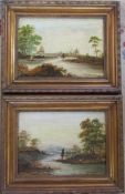 Pair of gilt framed oil paintings of river scenes 37 cm x 47 cm (size including frame)