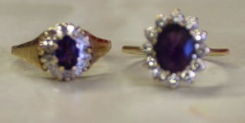 2 x 9ct gold and amethyst dress rings 3.8g size N