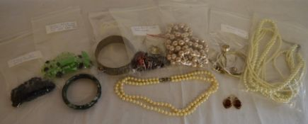 Double string of cultured pearls with a silver clasp, Victorian earrings, various vintage &