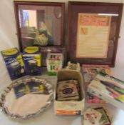 Various items inc silver plate tray, old greeting cards, heavy duty lanterns, quicktionary, Queen