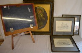 Kate Greenaway style print of a girl, 3 pencil drawings of Weekley village by B Starmer & a small