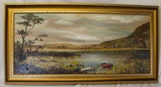 Large 20th century gilt framed oil on board depicting river scene size including frame 107cm x 59cm