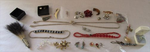 Selection of costume jewellery inc micro mosaic, brooches, silver filigree, needlepoint etc