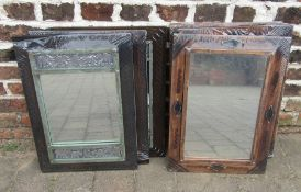 6 wooden framed mirrors
