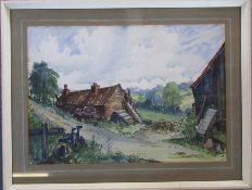 Framed pen and ink drawing of a homestead signed lower right corner by the artist dated 1960 66 cm x