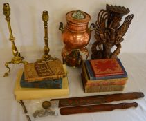 Copper coffee kettle with spirit burner, 2 brass table lamps, carved figure & 2 page turners,