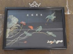 Oriental framed picture made from jadeite, coral, etc