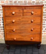 Victorian mahogany veneer bow fronted chest of drawers W102cm H126cm D54cm