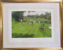 Gilt framed limited edition print 'Holding out' by Tony Sheath signed and numbered in pencil by