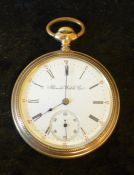 Gold plated open face pocket watch Illinois Watch Co. (not running)