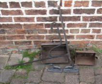 Wrought iron chimney crane, Dutch ovens and dog door stops