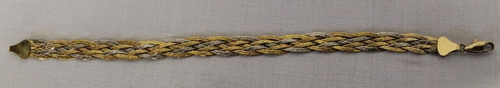 Marked as 9ct multi-coloured gold bracelet 5.3g & pair of earrings