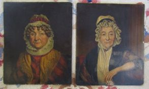 Pair of 19th century English school oil on board portraits of elderly ladies 30.5 cm x 25.5 cm,