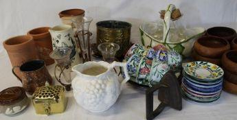 Miscellaneous ceramics, teak bowls, brass jardiniere etc.