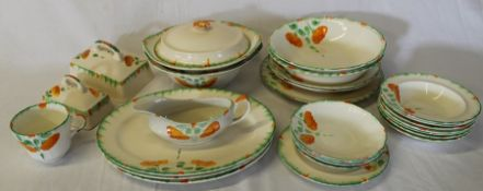 Ivory England 1930s part dinner / tea service with hand-painted decoration