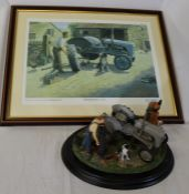 "Country Artists ""Widening The Track"" sculpture by Keith Sherwin with original box &  framed matching"