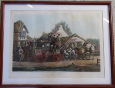 Large framed coloured engraving 'Fores's Coaching Recollections - All Right' from a picture by C C