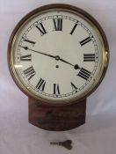 19th century mahogany cased wall clock with single fusee movement H 46.5 cm, clock diameter 36 cm