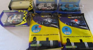Selection of unused Scaletrix cars and track inc McLaren MP4-12C & Mercedes McLaren