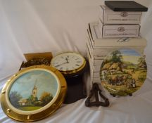 Boxed collectors plates, plate easels, painted plaque of St James Church, wall cloak & plate