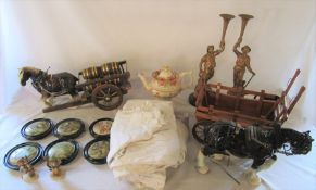 2 boxes of assorted ceramics inc Goebel and pot lids, night gowns etc