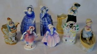 Royal Doulton figure HN1678 Dinky Doo, 3 Katzhutte figures, 3 bisque posy vases & a small