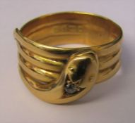 18ct gold snake ring with diamond accent Chester 1917 makers JHW weight 9.7 g size X/Y