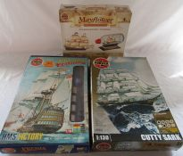 3 Airfix model kits - Mayfield ship in a bottle, HMS Victory and Cutty Sark