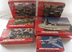 6 Airfix model kits inc D-Day Air and Sea assault, D-Day Gun Emplacement and D-Day coastal defence
