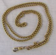 Tested as gold, possibly 14ct, watch chain in the form of a necklace weight 19.6 g