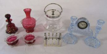 Selection of glass ware inc silver plated biscuit barrel, clock and candlesticks, cranberry glass