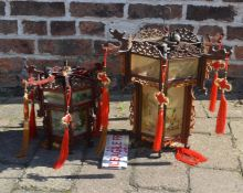 2 Chinese lanterns with wooden collapsible frames with hand painted panels & 2 spare panels