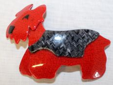 Lea Stein plastic brooch in the form of a red Scottie dog - the locking bar pin stamped Lea Stein