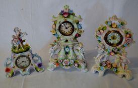 3 early 20th century porcelain figural clocks (AF)
