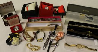 Selection of costume jewellery watches including Caledonian Airways Jumbo watch