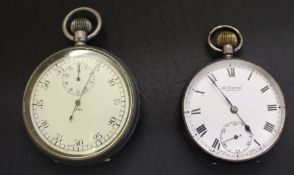 Air Ministry steel cased stop watch marked 7336 on reverse & Continental silver open faced pocket