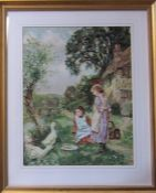 Large framed and glazed mixed media painting of a Victorian cottage scene with children and ducks by