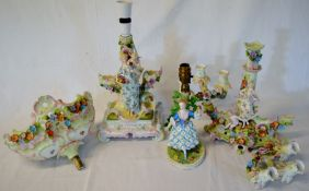 Early 20th century porcelain figural centre piece converted to a lamp, 6 branch candelabra & a lamp.