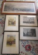 Assorted engravings and prints inc Harvest in the Highlands and Lincoln Cathedral