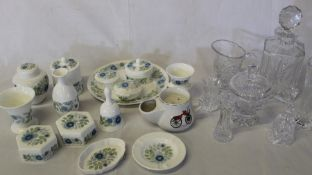 14 pieces of Wedgwood Clementine (bell repaired), a shaving mug, 5 pieces of Wedgwood Jasperware & 7