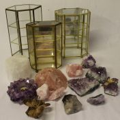 3 miniature glass display cabinets (1 damaged) & selection of crystals
