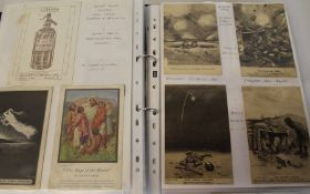Ring binder containing mixed trade cards & postcards including Bairnsfather
