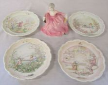 Set of 4 Royal Doulton 'Wind in the Willows' plates by Christina Thwaites & a Coalport ladies of